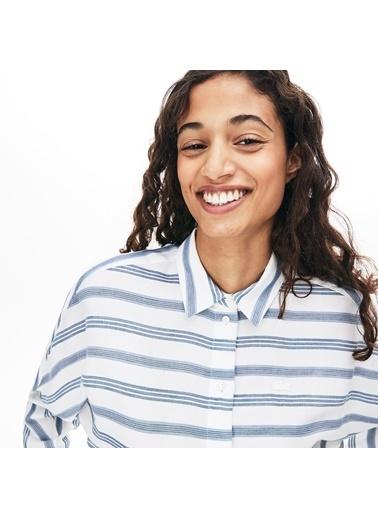 Lacoste Kadın Çizgili Gömlek CF8404.1A7 Bej